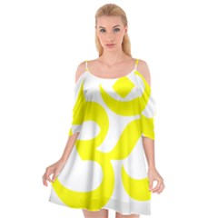 Hindu Om Symbol (maze Yellow) Cutout Spaghetti Strap Chiffon Dress