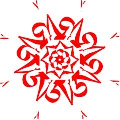 Tibetan Om Symbol (red) Straight Umbrellas by abbeyz71