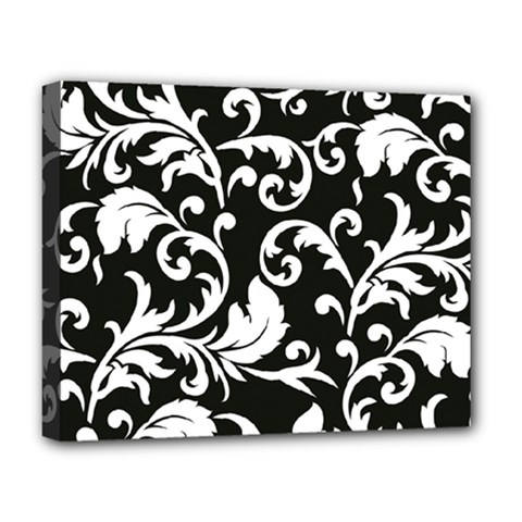 Black And White Floral Patterns Deluxe Canvas 20  X 16   by Nexatart
