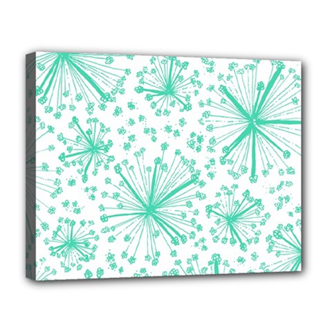 Pattern Floralgreen Canvas 14  X 11  by Nexatart
