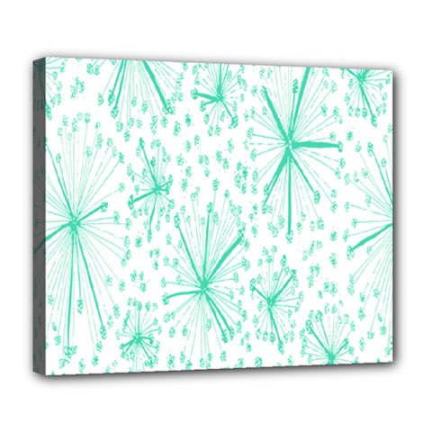 Pattern Floralgreen Deluxe Canvas 24  X 20   by Nexatart