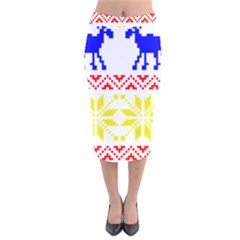 Jacquard With Elks Velvet Midi Pencil Skirt by Nexatart