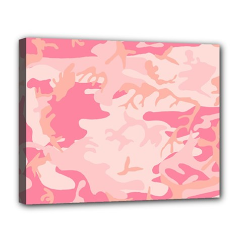 Pink Camo Print Canvas 14  X 11  by Nexatart