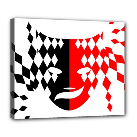 Face Mask Red Black Plaid Triangle Wave Chevron Deluxe Canvas 24  X 20   by Mariart
