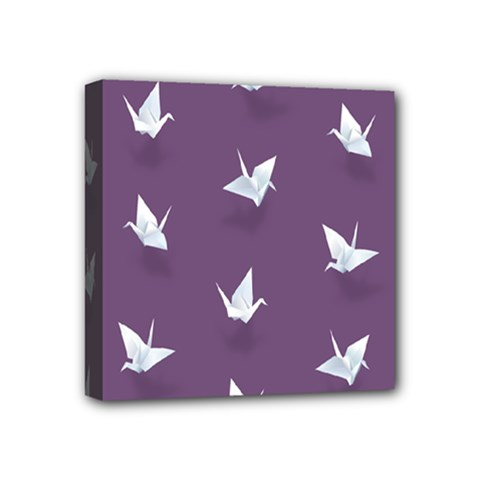 Goose Swan Animals Birl Origami Papper White Purple Mini Canvas 4  X 4  by Mariart