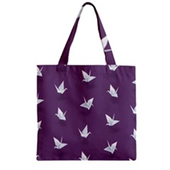 Goose Swan Animals Birl Origami Papper White Purple Zipper Grocery Tote Bag by Mariart