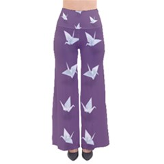 Goose Swan Animals Birl Origami Papper White Purple Pants by Mariart