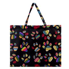 Colorful Paw Prints Pattern Background Reinvigorated Zipper Large Tote Bag by Nexatart