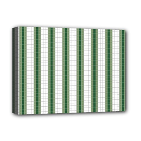 Plaid Line Green Line Vertical Deluxe Canvas 16  X 12   by Mariart