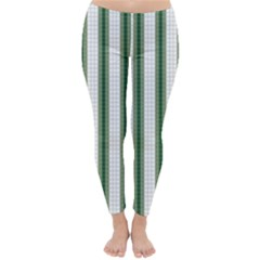 Plaid Line Green Line Vertical Classic Winter Leggings by Mariart