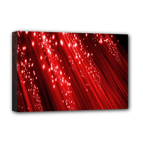 Red Space Line Light Black Polka Deluxe Canvas 18  X 12   by Mariart