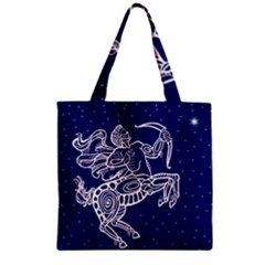 Sagitarius Zodiac Star Zipper Grocery Tote Bag by Mariart