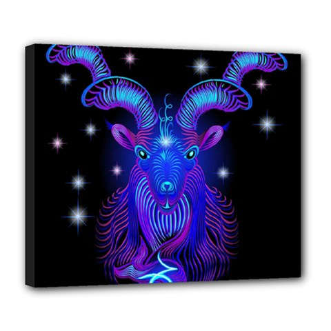 Sign Capricorn Zodiac Deluxe Canvas 24  X 20   by Mariart