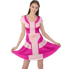 Women Safety Feminist Nail Strong Pink Circle Polka Cap Sleeve Dresses by Mariart