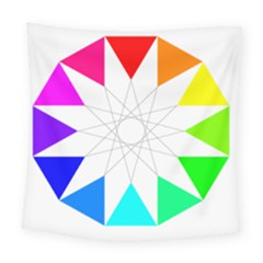 Rainbow Dodecagon And Black Dodecagram Square Tapestry (large) by Nexatart