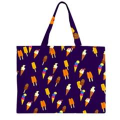 Seamless Ice Cream Pattern Zipper Large Tote Bag by Nexatart