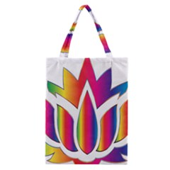 Rainbow Lotus Flower Silhouette Classic Tote Bag by Nexatart