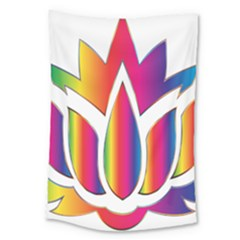 Rainbow Lotus Flower Silhouette Large Tapestry by Nexatart