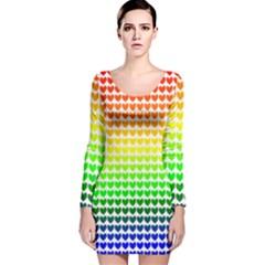 Rainbow Love Long Sleeve Velvet Bodycon Dress by Nexatart