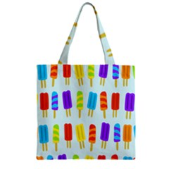 Popsicle Pattern Zipper Grocery Tote Bag by Nexatart