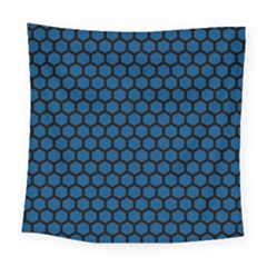 Blue Dark Navy Cobalt Royal Tardis Honeycomb Hexagon Square Tapestry (large) by Mariart