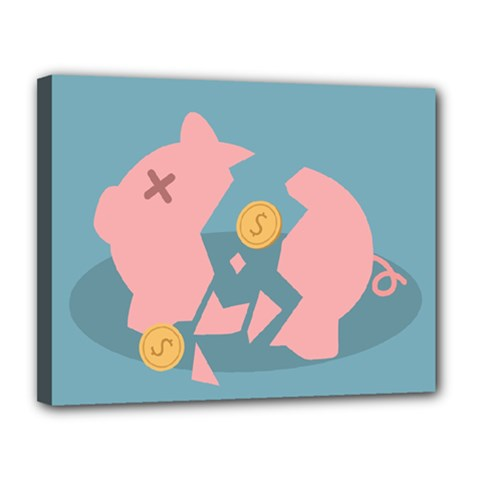 Coins Pink Coins Piggy Bank Dollars Money Tubes Canvas 14  X 11  by Mariart