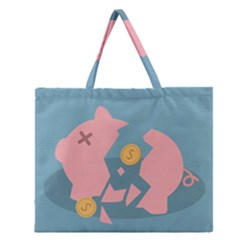 Coins Pink Coins Piggy Bank Dollars Money Tubes Zipper Large Tote Bag by Mariart
