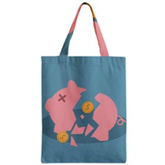 Coins Pink Coins Piggy Bank Dollars Money Tubes Zipper Classic Tote Bag by Mariart