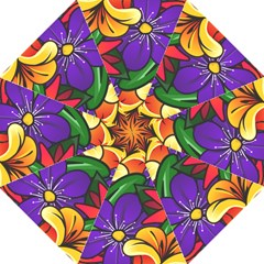 Bright Flowers Floral Sunflower Purple Orange Greeb Red Star Folding Umbrellas by Mariart