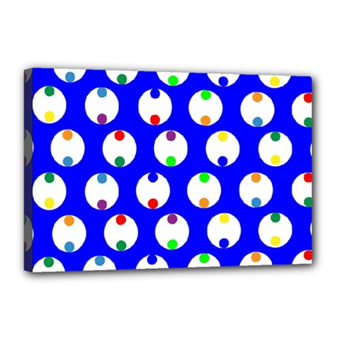 Easter Egg Fabric Circle Blue White Red Yellow Rainbow Canvas 18  X 12  by Mariart