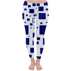 Illustrated Blue Squares Classic Winter Leggings by Mariart