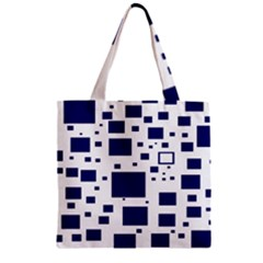 Illustrated Blue Squares Zipper Grocery Tote Bag by Mariart