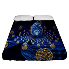 Fractal Balls Flying Ultra Space Circle Round Line Light Blue Sky Gold Fitted Sheet (queen Size) by Mariart