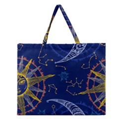 Sun Moon Seamless Star Blue Sky Space Face Circle Zipper Large Tote Bag by Mariart