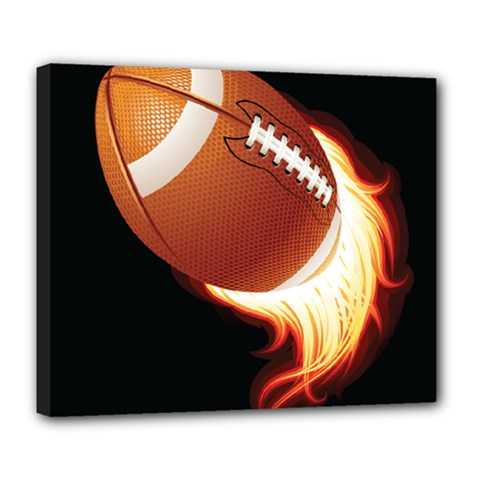 Super Football American Sport Fire Deluxe Canvas 24  X 20   by Mariart