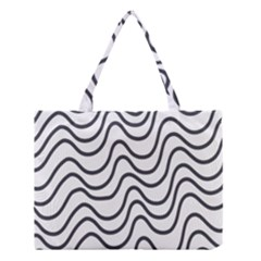 Wave Waves Chefron Line Grey White Medium Tote Bag by Mariart