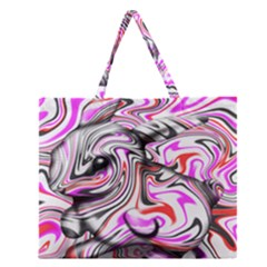 Wave Waves Chevron Rabbit Color Rainbow Pink Red Purple Animals Zipper Large Tote Bag by Mariart