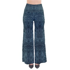 Teal Romantic Flower Pattern Denim Pants by Ivana