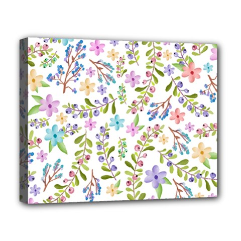 Twigs And Floral Pattern Deluxe Canvas 20  X 16   by Coelfen