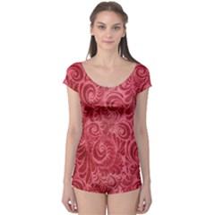 Red Romantic Flower Pattern Boyleg Leotard  by Ivana