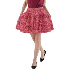 Red Romantic Flower Pattern A Line Pocket Skirt by Ivana
