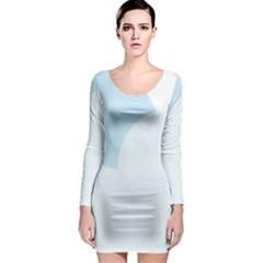Cloud Sky Blue Decorative Symbol Long Sleeve Bodycon Dress
