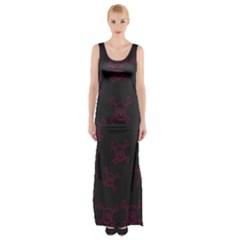 Skull Pattern Maxi Thigh Split Dress by ValentinaDesign