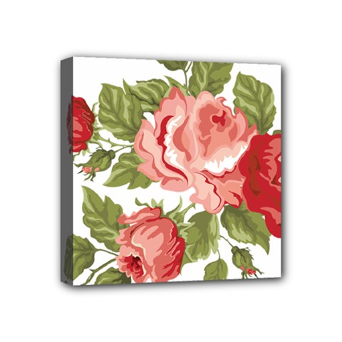 Flower Rose Pink Red Romantic Mini Canvas 4  X 4  by Nexatart