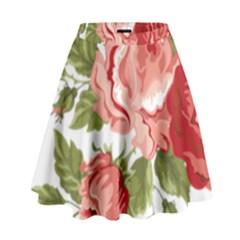 Flower Rose Pink Red Romantic High Waist Skirt by Nexatart