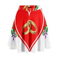 Heart Flowers Ring High Waist Skirt by Nexatart