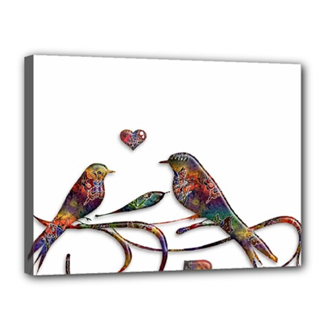 Birds Abstract Exotic Colorful Canvas 16  X 12  by Nexatart
