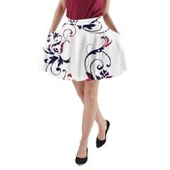 Scroll Border Swirls Abstract A Line Pocket Skirt by Nexatart