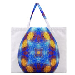 Easter Eggs Egg Blue Yellow Zipper Large Tote Bag by Nexatart