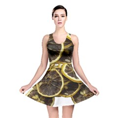 Lemon Dried Fruit Orange Isolated Reversible Skater Dress by Nexatart